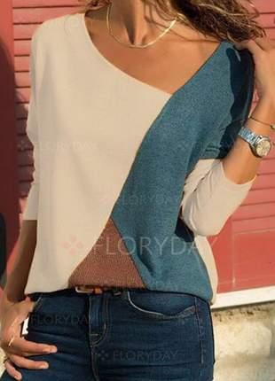 Blusa em lãzinha mesclada color block 2019