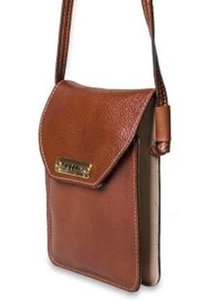Mini bolsa  transversal de couro