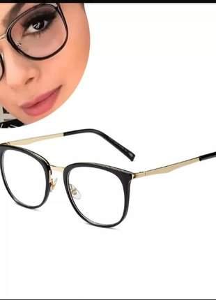 Armação óculos de grau feminino retrô vintage geek