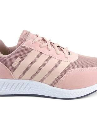 Tênis feminino casual esportivo caminhadas vorax na cor rosa