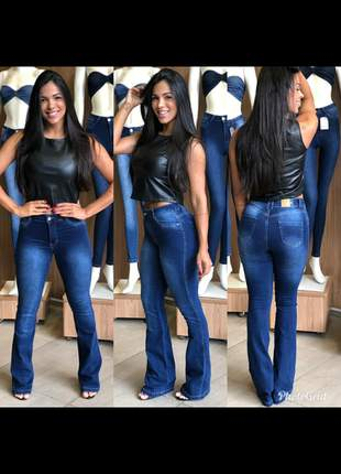 Calça jeans flare feminina levanta bumbum com lycra