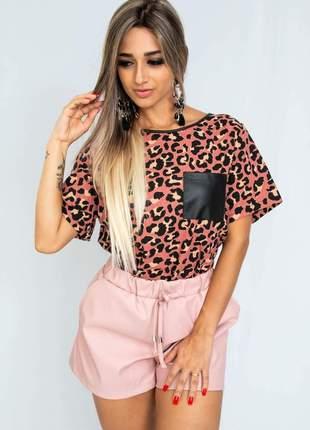 Short em courino cor rosa bb