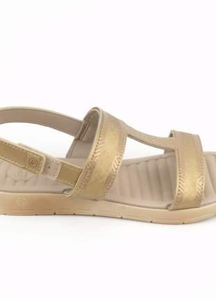 Sandália rasteira feminina dourada baixa macia moda confortavel