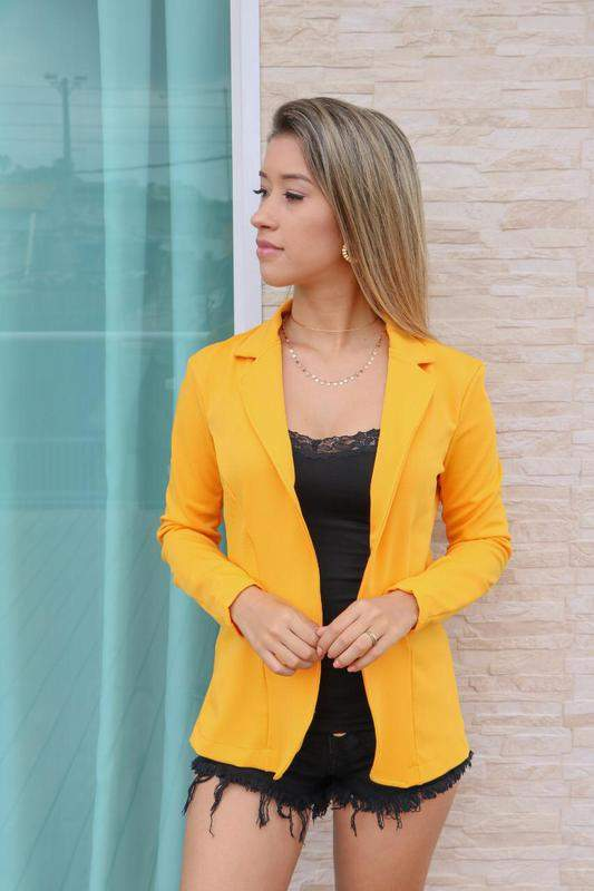 1e772c731 Blazer feminino acinturado açafrão - R$ 119.99 #23309, compre agora ...