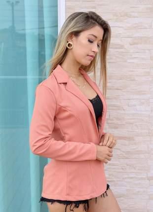 Blazer feminino acinturado social rosê
