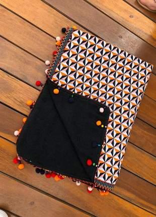 Canga toalha de praia com pompom retangular étnico