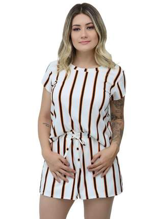 Conjunto feminino blusa e shorts estampado laço