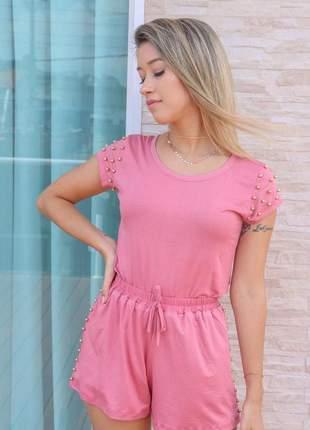 Conjunto feminino blusa e shorts laço pedraria