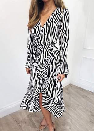 Vestido chiffon zebra