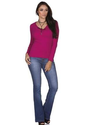 Blusa via costeira com renda em manga longa feminina pink