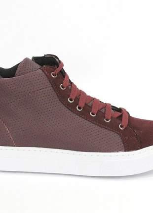 Tênis cano alto bordô dalí shoes