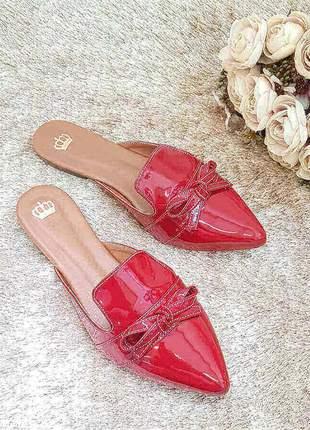 Sapato mule feminino vermelho