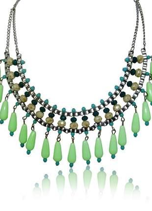 Maxi colar verde de miçanga e cristal