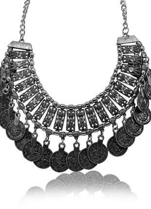 Maxi colar boho com moedas prata