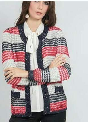 Casaqueto tricot listrado com fios lurex e paetês