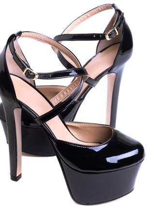 Sapatos femininos scarpins meia pata verniz