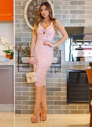 Vestido midi rose renda