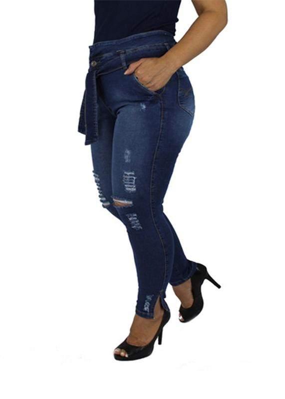 3ba6ac6a7 Calça jeans com cinto plus size laço clochard feminina cintura alta !1 ...