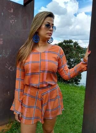 Conjunto short-saia evasé blusa manga flare comprida viscose