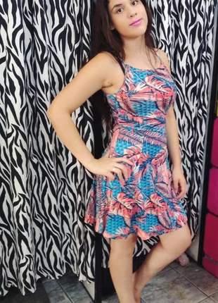 Vestido curto de alcinha soltinho moda primavera verão