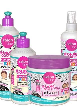 Salon line infantil to de cachinhos kids hipoalergenico e liberado completo 06 produtos