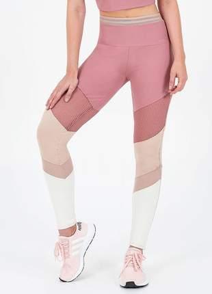 Legging alto giro light plus recorte em tela rosê