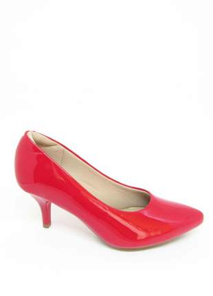 Sapato scarpin salto baixo vermelho verniz modare