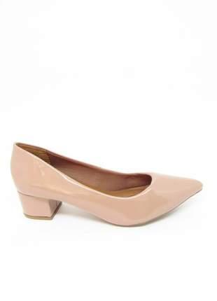 Sapato feminino social salto baixo quadrado nude