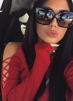 22015241f Óculos degrade lindo quadrado de luxo feminino estiloso moda