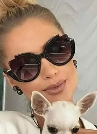 Óculos de sol luxo preto feminino veludo estiloso modelo