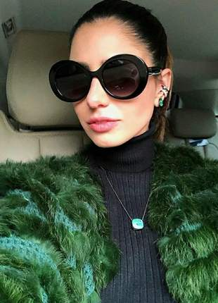 Óculos estiloso armação redonda grande feminino promoção