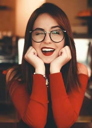 Óculos modelo nerd armação redonda sem grau geek vintage
