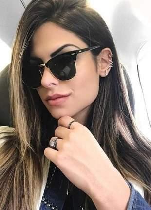 Óculos feminino de sol escuro famoso blogueiras + caixinha