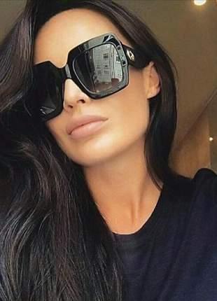 Óculos luxo quadrado feminino lente preta lançamento retro