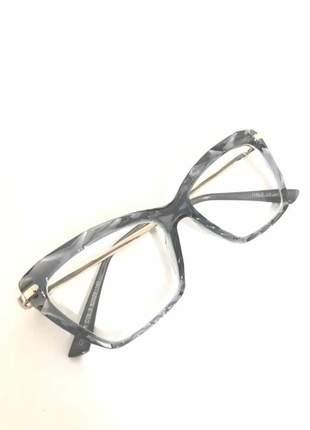 Armação óculos grau feminino gatinho dg2018 cinza nude