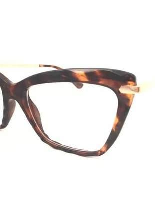 Armação oculos grau gatinho original diamante tartaruga marrón oscuro