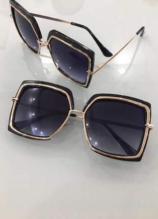 Óculos de sol feminino preto geek quadrado grande nova