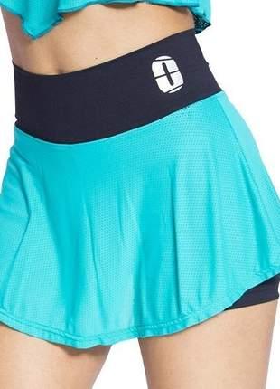 Kit 2 short saia gode tecido duplo feminino academia one sport  1 preto e 1 azul
