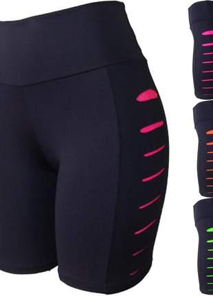 Kit c/ 3 bermuda feminina fitness rasgo lateral atacado