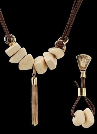 Kit colar com fios encerados e pedra osso natural e franja ref. 344