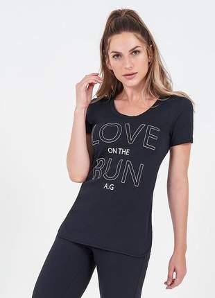 T-shirt alto giro skin fit inspiracional preta