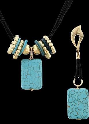 Kit colar com fios encerados e pedra natural turquesa azul ref. 341