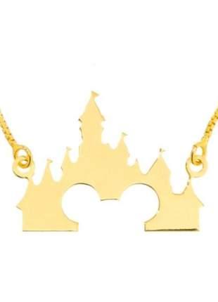 Gargantilha castelo da disney mickey, folheada a ouro 18k