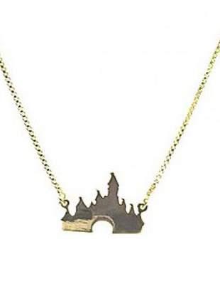 Gargantilha castelo sa sisney, folheada a ouro 18k