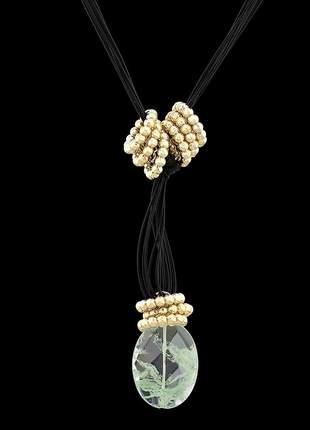Kit colar com fios encerados e pedra natural ref. 337