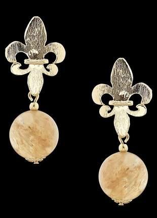 Brinco folheado à ouro com pedra natural cristal rutilado ref. 2053