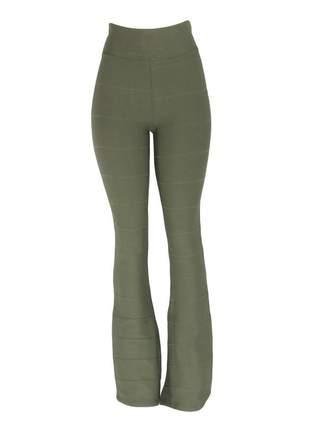 Calça infinity fashion flare verde militar