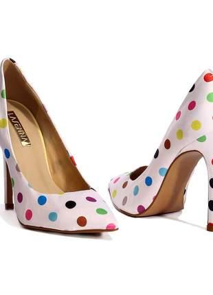 Sapato scarpin feminino retro poa lasenna
