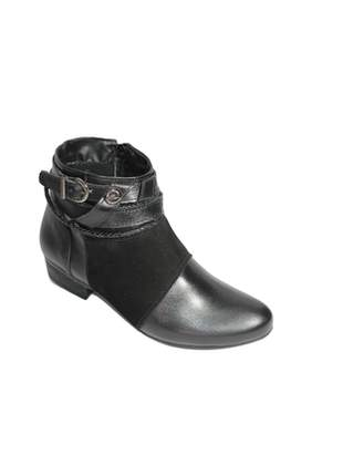 Bota feminina preta couro legítimo cano baixo ankle