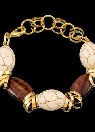 Pulseira folheada a ouro,com pedra natural ref. d343